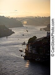 Late afternoon view of Douro River in Porto