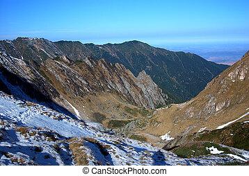 Late autumn landscape in Carpathian mountains, Romania - ...