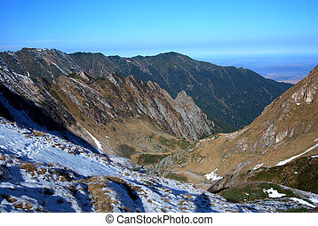 Late autumn landscape in Carpathian mountains, Romania -...