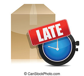 late delivery box and watch illustration design on white