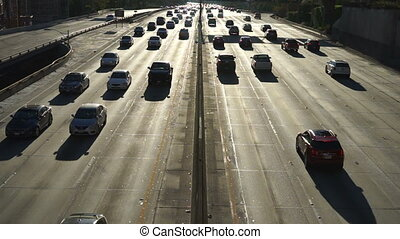 Late Evening Rush Hour highway Los Angeles California - Cars...