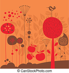 Late Fall - Late fall illustration with stylized decorative...