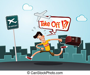 late for departure - a tourist in a hurry running to the...