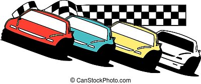 Late model race cars - stock cars, racing together