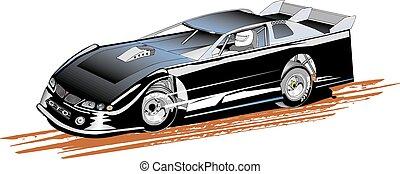 Late Model Stock Car - Late model dirt race car, vector,...