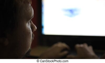 Late night office worker working overtime in dark office. HD. 1920x1080