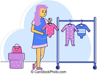 Late pregnant period woman select children clothing shopping centre, line female character hold newborn wear isolated on white, flat vector illustration. Preparing birth child, buy jumpsuit shirt.