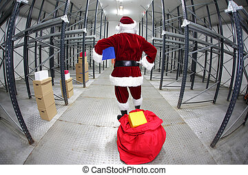 Late Santa Claus in  storehouse