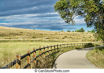 late summer on Poudre River Trail in northern Colorado near...