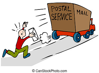 Late Urgent Mail - An image of a man chasing mail truck with...