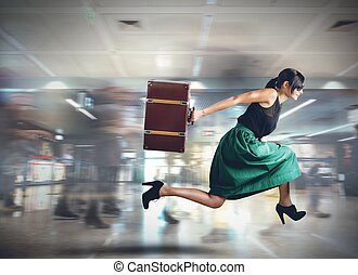 Late woman tourist - Woman runs late to the flight departure
