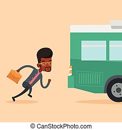 Latecomer man running for the bus. - Young business man...