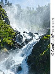 latefossen, été, pente, montagne, chute eau, (norway).