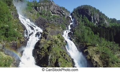 Latefossen - rapid waterfall in Norway. Aerial view, summer...