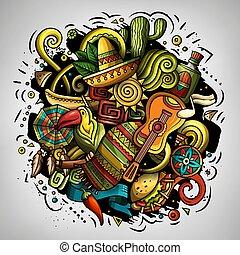 latein, abbildung, vektor, doodles, amerika, karikatur