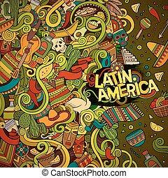 latein, rahmen, hand-drawn, amerikanische , doodles, ...