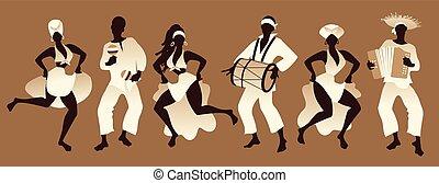 lateinische musik, oder, spielende , afro, tanzen, maenner, ...