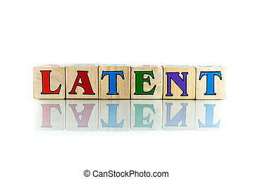 latent - latent colorful wooden word block on the white...