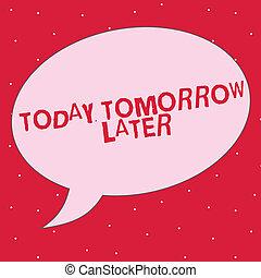 later., concept, woord, afterwards, zakelijk, tekst,...