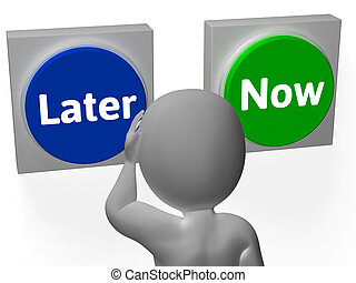Later Now Buttons Showing Wasting Time Or Procastination