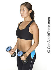 Lateral Raise 3 - A female fitness instructor demonstrates...