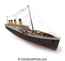 Lateral view of the Titanic - Side view of 3D rendering of...