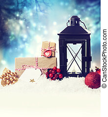 laterne, schnee, verzierungen, weihnachten