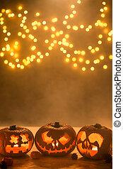 laternen, halloween, erleuchtet, kürbise, geschnitzt