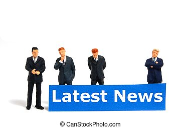 latest news concept with small business man isolated on ...