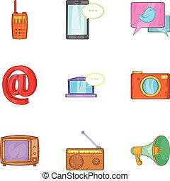 Latest news icons set, cartoon style