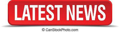 latest news red 3d square button isolated on white