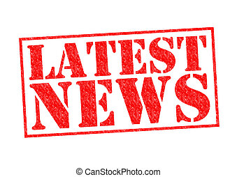 LATEST NEWS red Rubber Stamp over a white background.