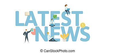 LATEST NEWS word concept banner. Concept with people, letters, and icons. Flat vector illustration. Isolated on white background.
