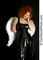 latex angel - redhead in black latex dress with angel wings