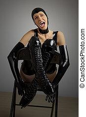 latex, chaise, séance femme