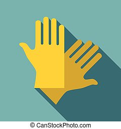 Latex gloves icon, flat style