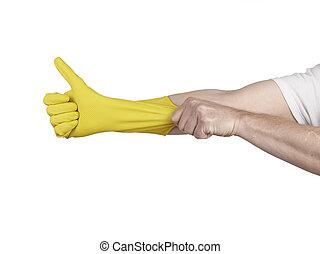 latex, isolé, gant, main, nettoyage, fond, blanc