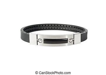 latex, naturel, bracelet, isolé, noir, argent