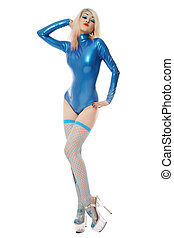 Latex pinup - Slim sexy blonde girl in blue latex body,...