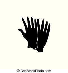 latex, protecteur, ménage, illustration, vecteur, noir, white., médecine, gants, ou