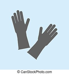 Latex Rubber Gloves on the blue background. Vector illustration