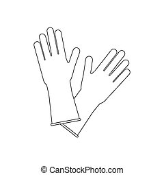 Latex Rubber Gloves on the white background. Vector illustration