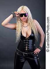 latex, sexy, lunettes soleil, blond, complet
