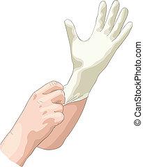 latex, stérile, usures, gloves., docteur