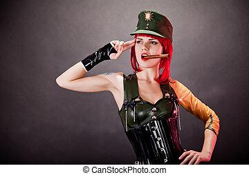 latex,  Style, femme, habillé, jeune, militaire