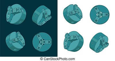 Lathe Chuck Color Drawings - Stylized vector illustrations ...