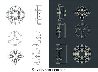 Stylized illustration of lathe chuck mini set drawings
