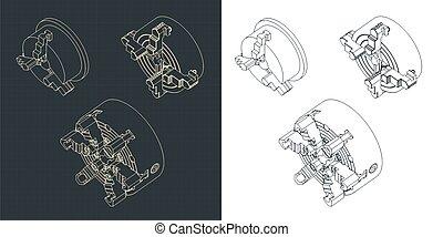Stylized vector illustration of lathe chuck mini set drawings