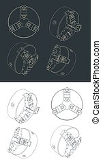 Lathe Half Open-Center Chuck Drawing - Stylized vector ...