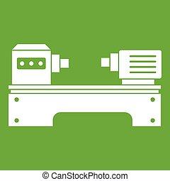 Lathe machine icon white isolated on green background. Vector illustration